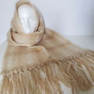 Donegal Designs Handwoven Mohair Wool Plaid Fringed Scarf Extra Long